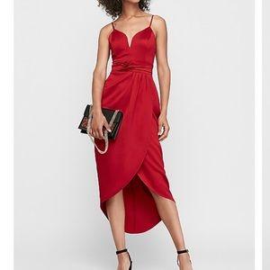 Express red satin high low dress